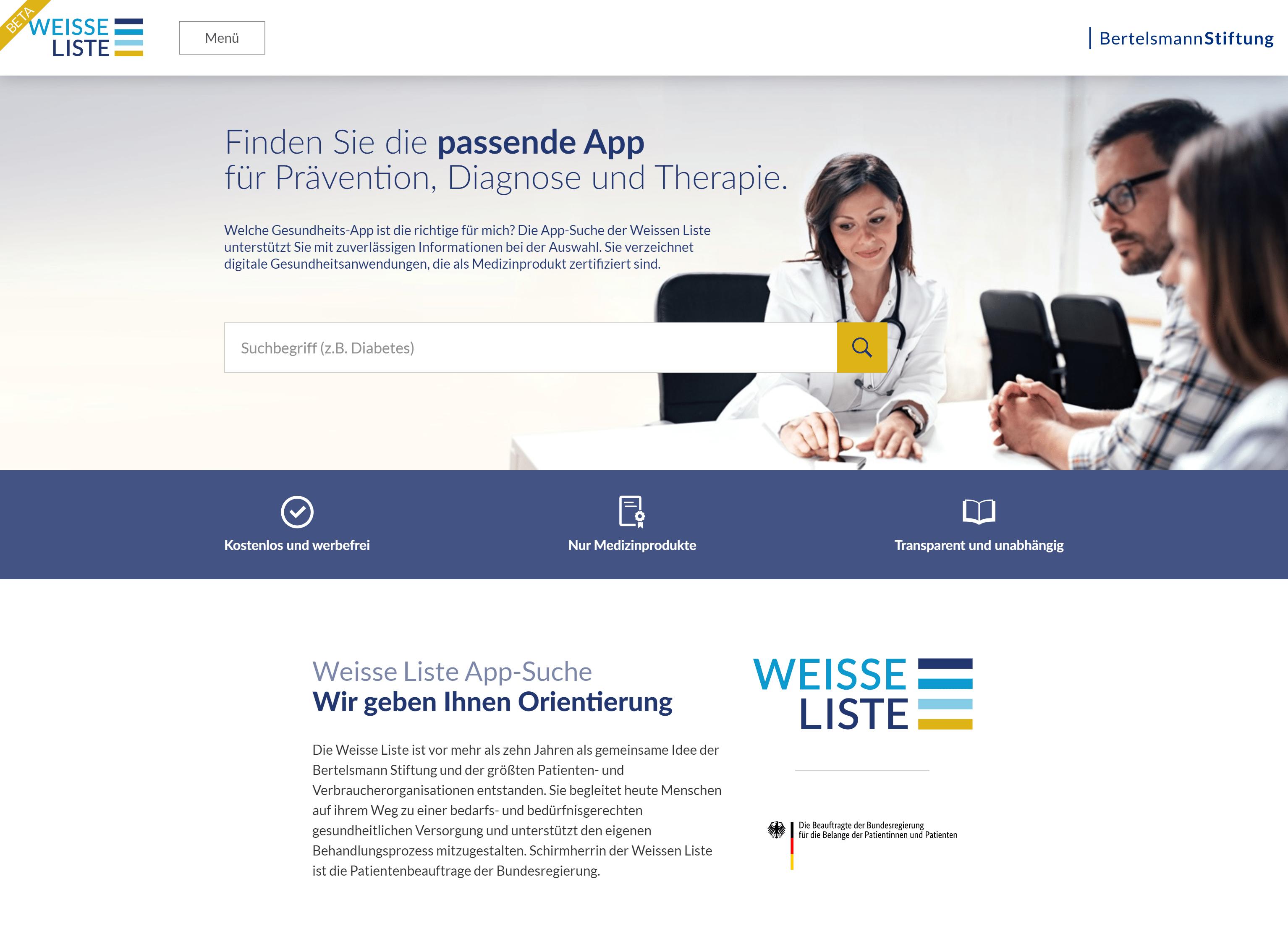 Weisse Liste App-Suche