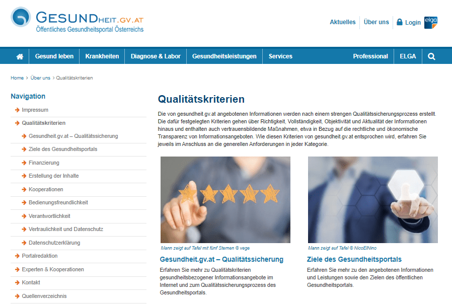 Auf dem Screenshot vom Nationalen Gesundheitsportal in Österreich werden die Qualitätskriterien transparent gemacht.